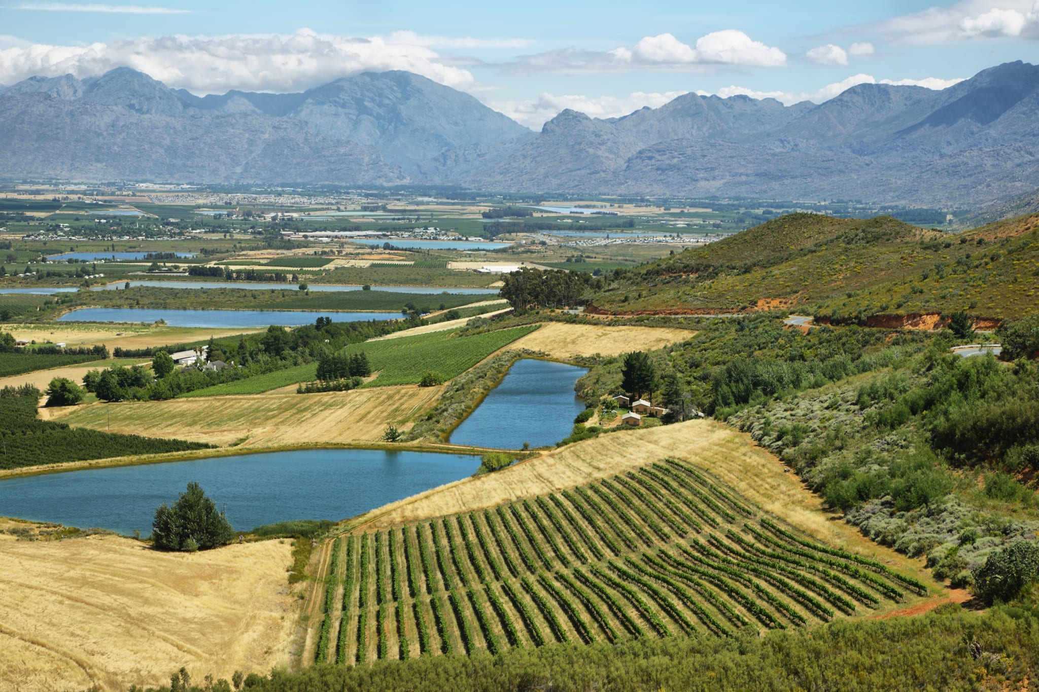 Landscape of lagoons and vineyards from Gydo Pass, South Africa